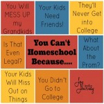 YOU CAN'T HOMESCHOOL BECAUSE….. How to Deal With Homeschool Criticism