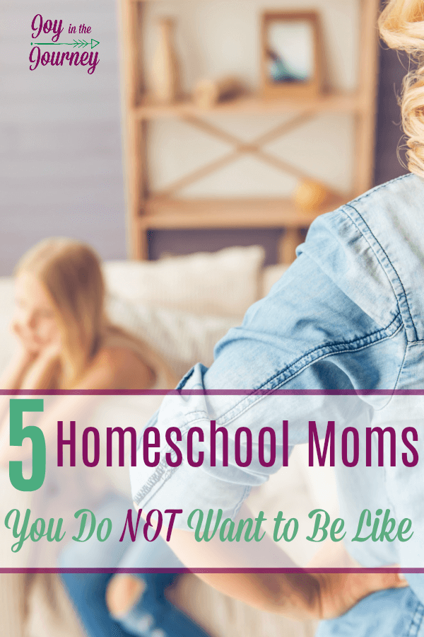 There are five scenarios that happen to me regularly, all of which have the potential to give birth to five types homeschool moms I do NOT wanna be like