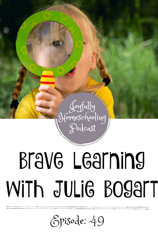 Today's episode is with Julie Bogart from Brave Writer. I have been SO excited about this episode and have been blown away by her new book. In this episode, we chat about more than just our normal Fess Up Friday questions. I dive in deep and ask Julie questions about getting past the craft mess, and following a more relaxed approach in high school.  If you listen to no other episode EVER on the Joyfully Homeschooling episode this is the one you do NOT want to miss :)