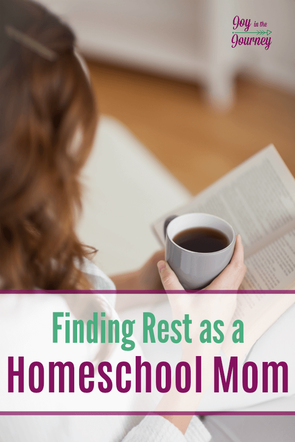 It is SO important to find rest as a homeschool mom. Without it, we become burnt out. We begin to homeschool out of negligence, we no longer find enjoyment in our calling as a mother, and our family begins to crack as a result.