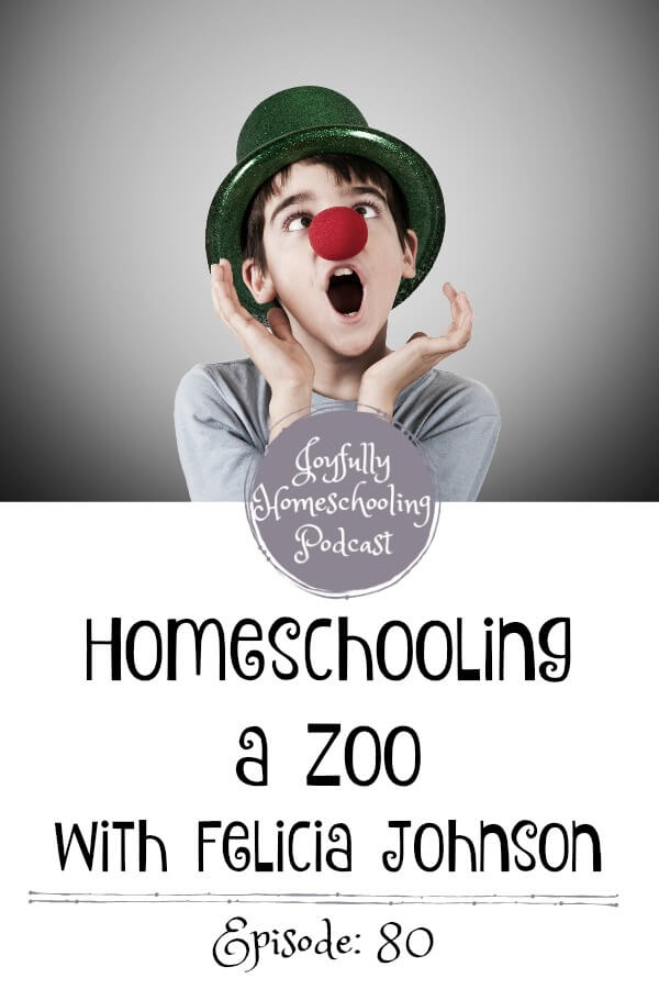 Sometimes homeschooling can feel like you're in a zoo. Felicia Johnson knows all about that! We chat today about special needs, finding time for yourself and so much more.