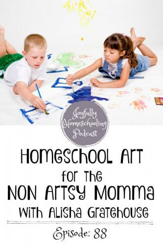 Teaching homeschool art is something many homeschool moms struggle with. Today we are talking with Alisha Gratehouse about how a non-artsy homeschool mom can teach homeschool art.