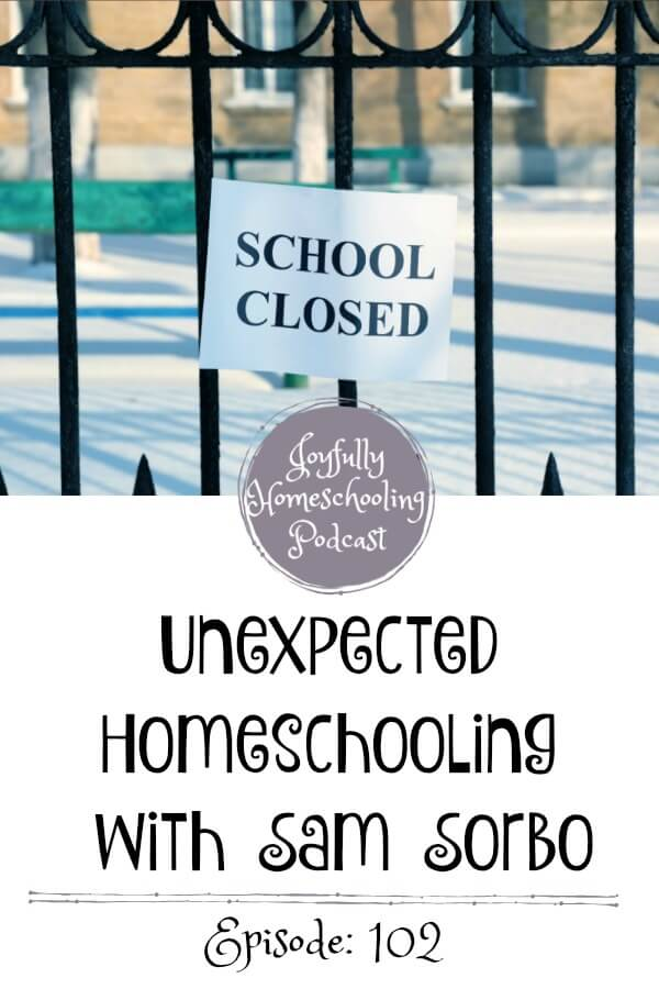 Have you been thrown into unexpected homeschooling? Then this episode is for you! If you are considering homeschooling but afraid to take the leap, Sam Sorbo is here to encourage you. You can do this!